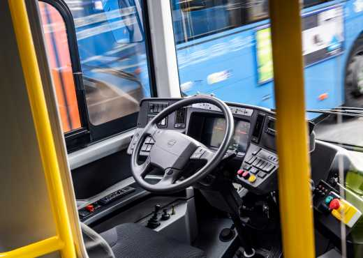 Autonomous Volvo bus driving in the depot.